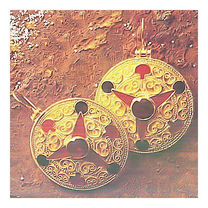 Sutton Hoo Treasures Garnet Earrings, Original in British Museum