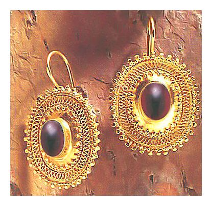 Afghani Garnet Silver Earrings
