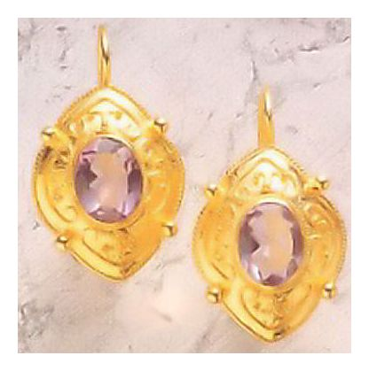 Amethyst Shield Earrings