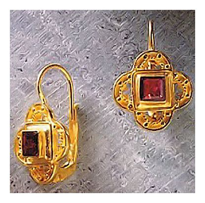 Byzantine Gold Garnet Earrings