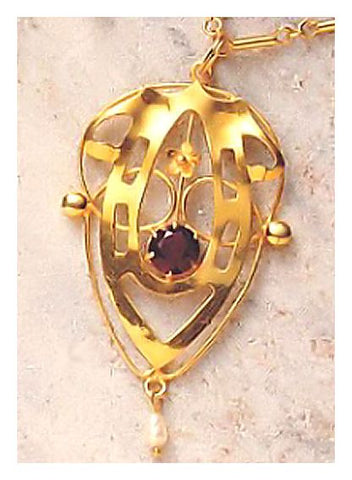 Lyrical Shield Garnet Necklace