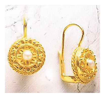 Disc Pearl Medallion Earrings