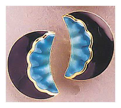Moon Shell Deco Enamel Earrings