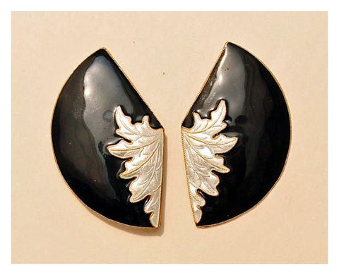 Fan Leaf Earrings in White and Black Enamel