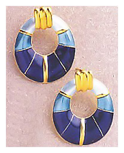 Blue Enamel Deco Earrings