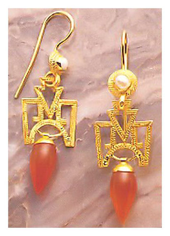 Russian Deco Carnelian Earrings