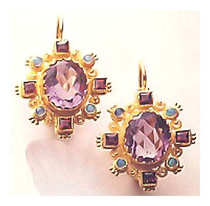 Wellington Amethyst and Garnet Earrings