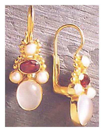 Brighton Moonstone, Garnet and Pearl Earrings