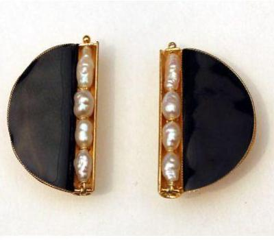 Black and Pearl Enamel Earrings