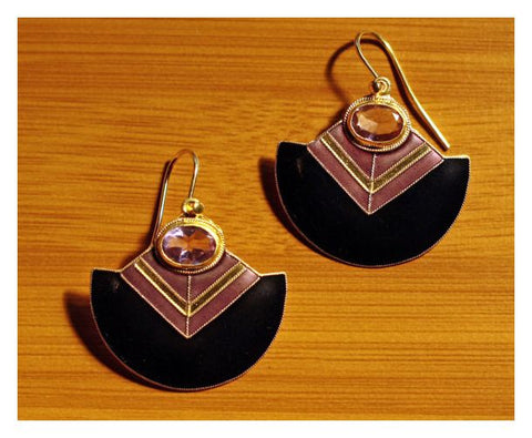 Vintage Shashi Amethyst Deco Gold-Vermeil Earrings