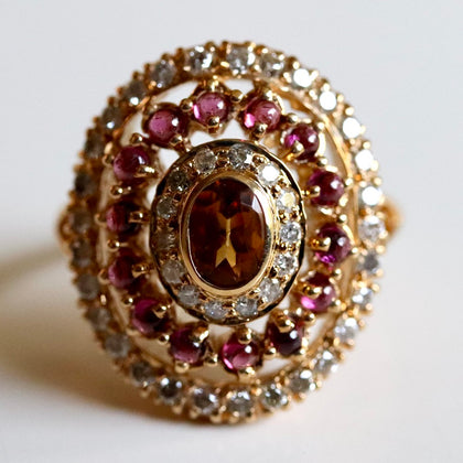 14k Morgan Le Fay Citrine Garnet and Diamond Ring