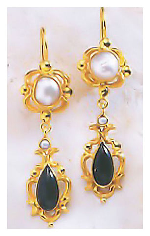 Bloomsbury Onyx Pearl Earrings Timeless Design Jewelry Sterling Silver