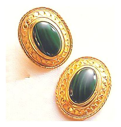 Mansfield Park Malachite Earrings