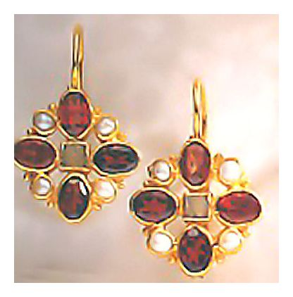 Guinevere Garnet, Pearl, & Aventurine Earrings