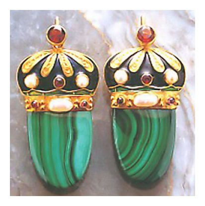 Nicholas I Malachite Russian Earrings