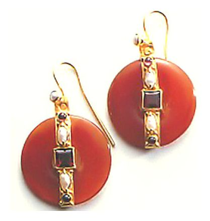 Carnelian Wheel Earrings