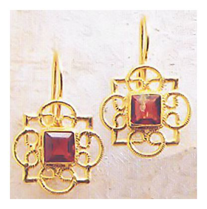 Rosette Garnet Earrings