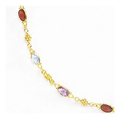 Chelsea Garnet, Blue Topaz and Amethyst Necklace