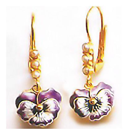 Pansy Hand Painted Enamel Earrings