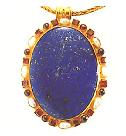 Godunov Lapis, Garnet and Pearl Necklace