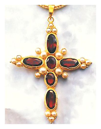 Victorian Cross Garnet and Pearl Necklace