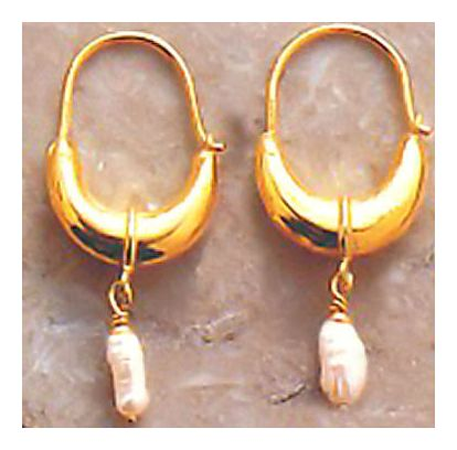 Crescent Pearl Pendant Earrings