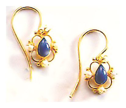 Lapis & Pearl Rosette Earrings
