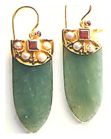 Aventurine Shield Earrings