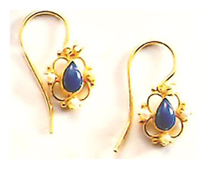 Lapis & Pearl Rosette Earrings-Screw Backs