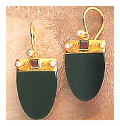 Onyx Shield Earrings-Screw Backs