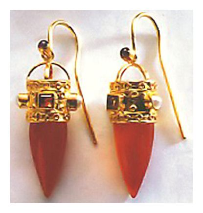 Czarina Carnelian Earrings-Screw Backs