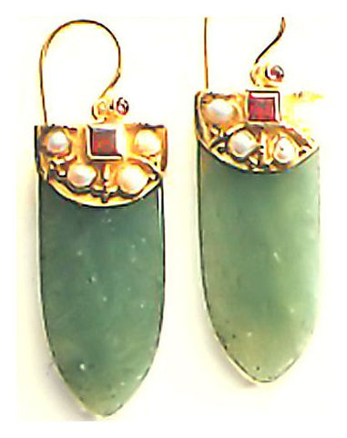 Aventurine Shield Earrings-Screw Backs