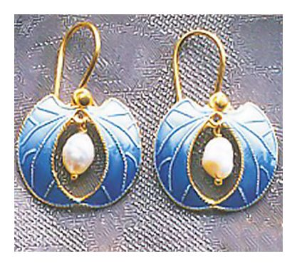 Blue Frond Earrings