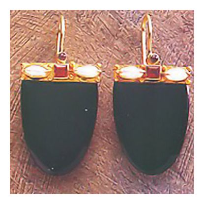 14k Brittania Onyx, Pearl, & Garnet Earrings