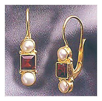 14k Banbury Garnet and Pearl Earrings