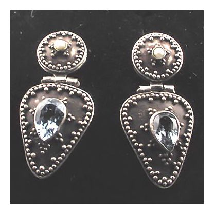 Blue Topaz Shield Earrings