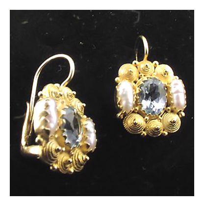 Jane Austen Blue Topaz & Pearl Earrings