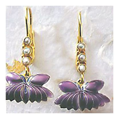 Plum Blossom Enamel Earrings