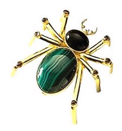 Malachite, Onyx, & Garnet Spider Pin