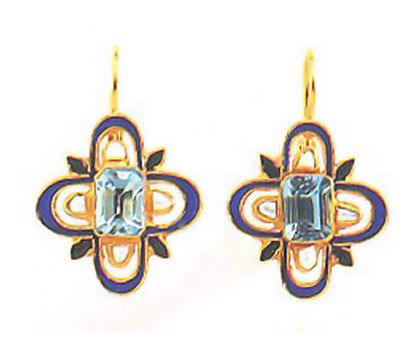 Mistress Quickly 14k Gold, Blue Topaz and Pearl Earrings