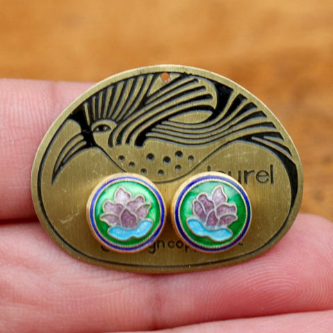 Vintage Laurel Burch Lotus Gold-Vermeil Studs