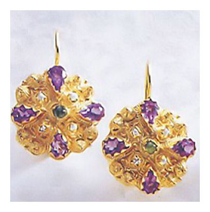 14k Fanny Burney Amethyst Earrings