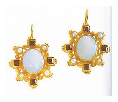 14k Trafalgar Opal, Garnet, & Pearl Earrings