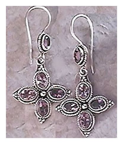 Amethyst Cross Earrings