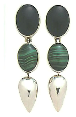 Ixtapa Onyx, Malachite & Silver Earrings