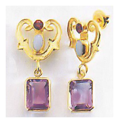 Emily Elliott Amthyst and Garnet Earrings