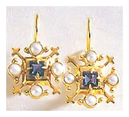 Duchess Of Gloucester Pearl and Iolite Earrings