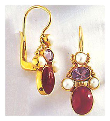 14k Brighton Ruby, Amethyst and Pearl Earrings