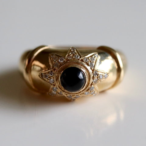 14k Onyx Diamond Star Ring