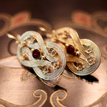 Heracles Knot 14k Gold and Garnet Earrings